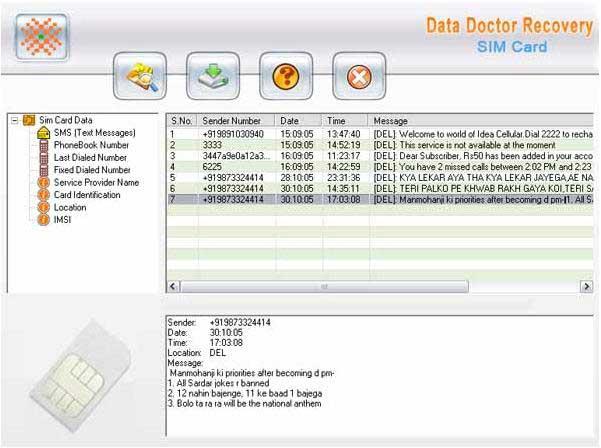 Mobile phone sim card message reader software